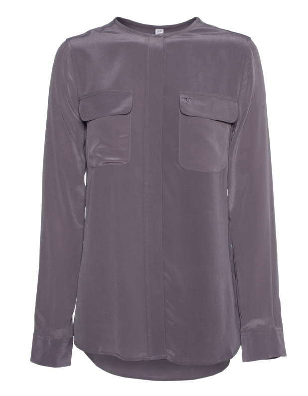 Silk Blouse Flap Dark Grey