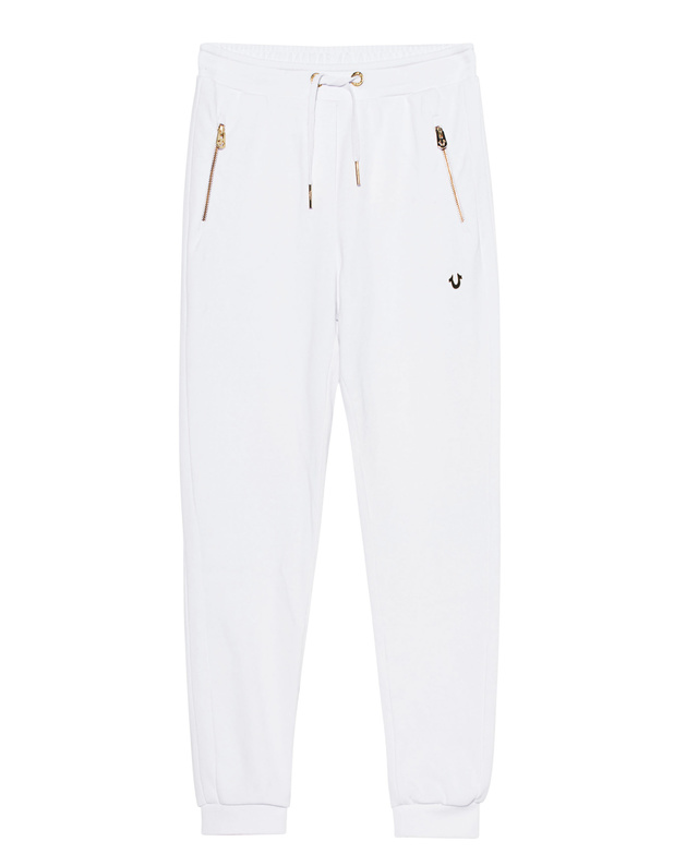 true religion pant all metal white sweatpants with zipper pants. Black Bedroom Furniture Sets. Home Design Ideas