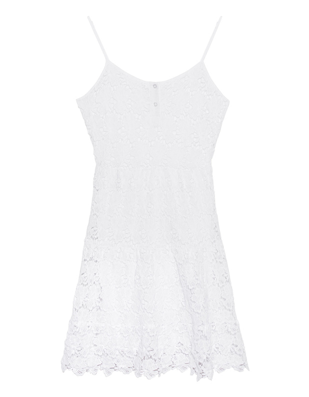 TRUE RELIGION Flower Lace White Baumwoll-Häkel-Kleid - Kleider