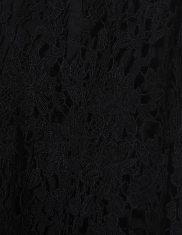 True Religion Lace Floral Black Strap Dress With Floral Lacing