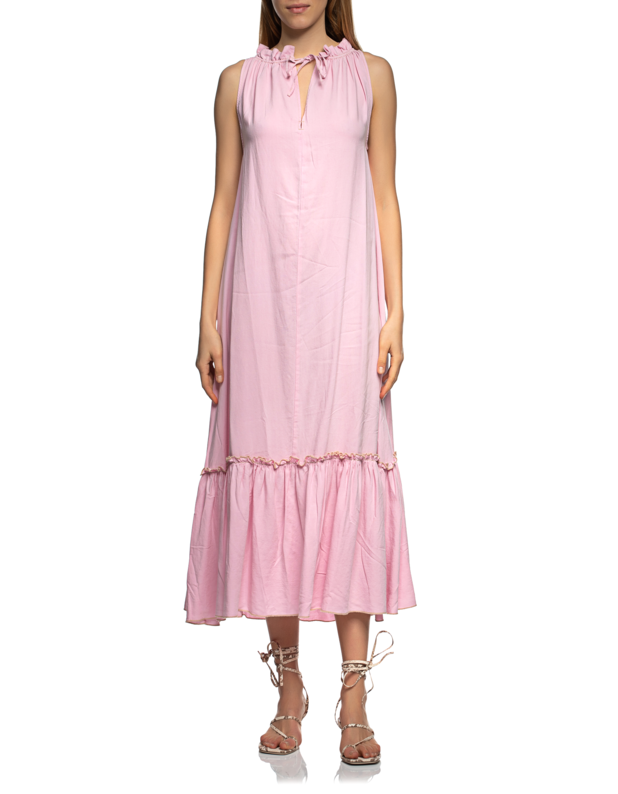 Sleeveless Ruffle Long Vintage Pink